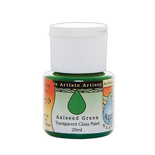 Artiste - Flacone di vernice per vetro, 20 ml, serie Aquaglass, finitura trasparente, colore: verde acido