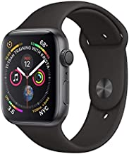 APPLE Watch 4 44MM Space Gray Aluminum CASE with Black Sport Band (Renewed)