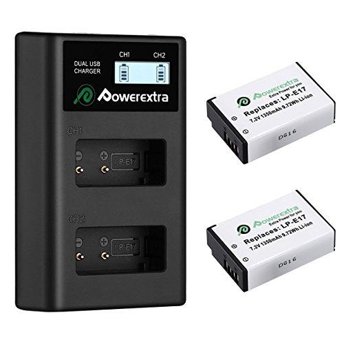 Powerextra 2 Batterie de Rechange pour Canon LP-E17 1350mAH et Chargeur à 2 Batteries avec LCD USB pour Canon EOS Rebel T6i Rebel T6i Rebel T7i 750D 760D 8000D Kiss X8i 800D 77D 200D EOS SL2 M3M5M6