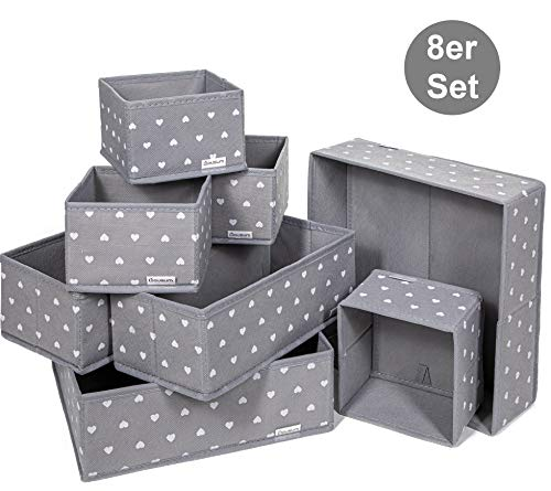 8 Aufbewahrungsboxen Stoff in ver. Größen | Kein Geruch | Stabil, nicht wabbelig | Ordnungssystem für Schrank, Schublade & mehr | Schrank Stoffbox