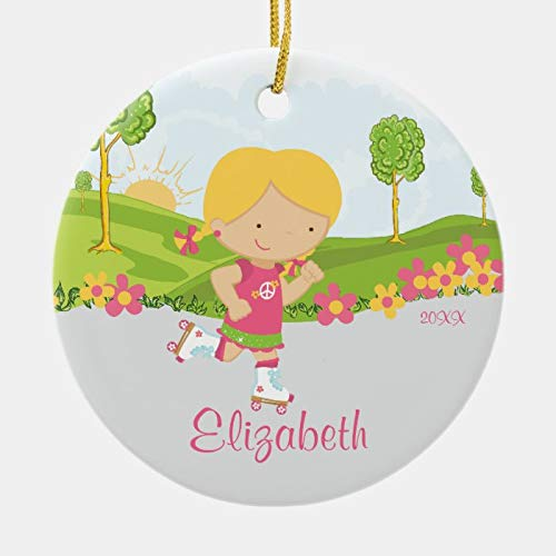Personalized Skating Roller Skater Girl Christmas Ornament 3 Ihch Ceramic Ornament