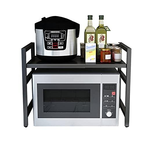 LLMY Carrito Cocina Multiuso Estante para Microondas, Soporte de Horno Extensible, Caja Almacenamiento 2 Capas, con 3 Ganchos, Fácil de Limpiar