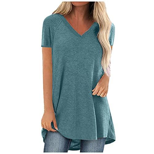 LoveLeiter Damen Longshirt Sommer kurzarm Rundhals T Shirt Mode tunika Einfarbig Lockere Oberteile Lässig Tunic Oversized tunika Retro Bluse Classic Pullover Loose Hemdbluse