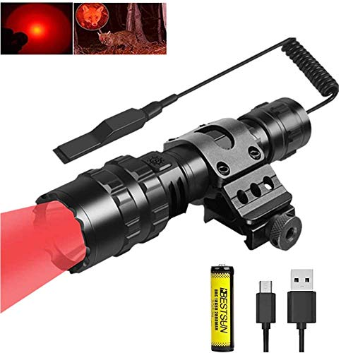 BESTSUN Hunting Flashlight, 1200 Lumen Tactical LED Flashlight with Red Light 5 Modes 350 Yards Red Predator Light with Picatinny Offset Mount Pressure Switch for Night Hunting, Battery Include