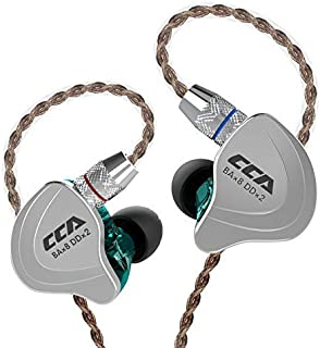 CCA C10 IEM Monitor In-ear Earphones with 4 Balanced Armature Drivers and 1 Dynamic Driver (4BA+1DD), Noise Isolating Sports Wired Earbuds with 0.75mm 2-Pin Detachable Cable and 3.5mm gold-plated Plug Without MIC Cyan