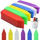 Mziart 120Pcs 4 Inches Plastic Plant Tags Waterproof Nursery Garden Plant Labels Stakes Pot Markers, Multicolor