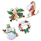 Ybzx 4pcs Navidad Broche Pin Set Muñeco de Nieve Santa Jingle Bell Corona Insignia Broche Cristal Rhinestone Broche Pin Regalo para Mujer Chica Guirnalda de Navidad
