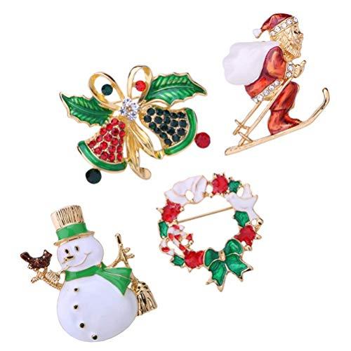 Ybzx 4pcs Christmas Brooch Pin Set Snowman Santa Jingle Bell Wreath Badge Clasp Crystal Rhinestone Brooch Pin Gift for Women Girl Christmas Garland