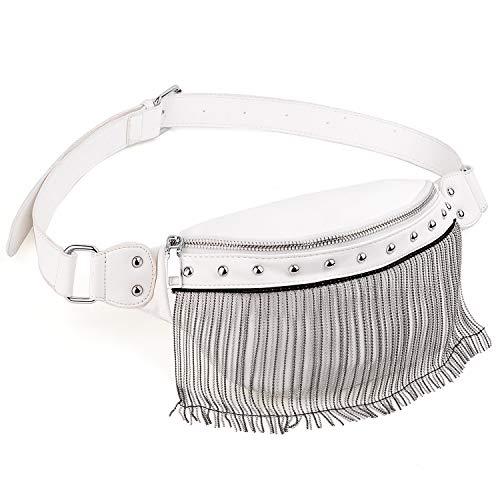 Riñoneras de Moda - UTO Cuero Sintético Impermeable con Perlas Flecos Viaje Cinturón, Bolso Bandolera Bolso de la Cintura, Peso Ligero para Mujer Hombre