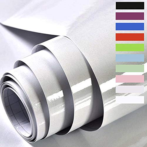 Möbelfolie Selbstklebende Folie Klebefolie für Möbel Küche Tür Wand Oberflächenschutz küchenfolie für küchenschrank Wasserdicht Vinyl Aufkleber Hochglanz Mit Glitzer 60cmX500cm 60cmX500cm (Grau)