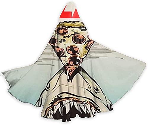 KEROTA Capa de Halloween con capucha para pizza y tiburón, lindo divertido hambriento, pizza de bruja de Navidad para adultos, cosplay, fiesta de disfraces