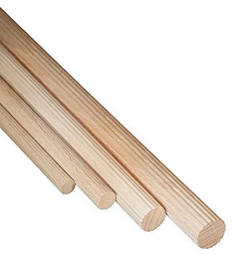 5 Stk JOWE Riffelstab aus Buche Ø 16 mm, Länge 100 cm - Dübelstab 1 m, gefertigt in Österreich nach DIN 68150