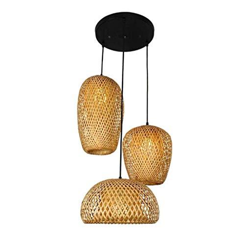 YFAZTS 3 Flamme Esstisch Lampe Retro-Runde Bambus-Lampe handgewebte natürliche Rattan Lampenschirm Kronleuchter kreative Kronleuchter E27 Hänge Restaurant