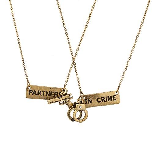 Lux Accessories Partners in Crime Handcuff Hand Cuff Gun BFF Best Friends...