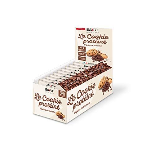 EAFIT LE COOKIE PROTEINE - Pépites de chocolat - 15g de protéines - FAIBLE teneur en sucres - Vit C et E - Calcium et Phosphore - Présentoir x10 Cookies de 50g
