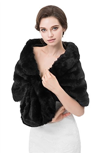 Insun Donna Scialle Pelliccia Sintetica Mantelli Soprabito Poncho Mantelle Giacche Cappotti nero 160 x 40 cm