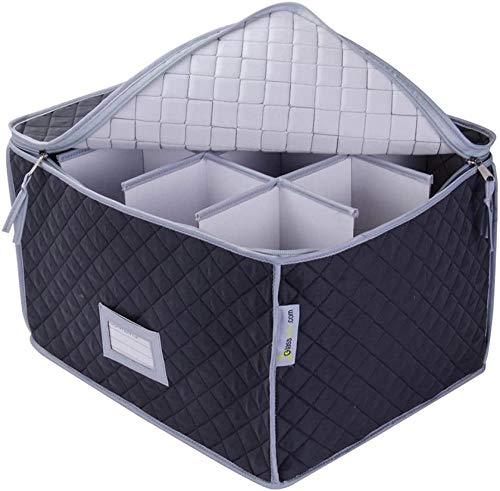 Xicaimen Estuche de Almacenamiento para Copas de Vino - Microfibra de Lujo - Capacidad para 12 Vasos |Caja de Almacenamiento de decoración