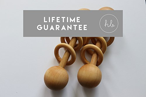 Organic Wood Montessori Styled Baby Rattle by Homi Baby - Perfect Grasping Teething Toy for Toddlers - Handmade in The USA - Sealed with Organic Virgin Coconut Oil (Natural)