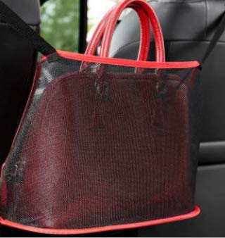 Car Net Pocket Handbag Holder, Car Seat Back Gap Storage Box Rack, Durable And Large Capacity Handbag Holder Car Purse Storage Pocket For Small Items, Helps As Dogs, Phones, Documents, Bags(Red Color)