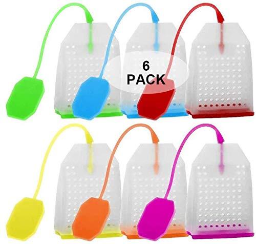 Bolsas de té de silicona, Wady 6 paquetes de filtro de infusión de té de hojas sueltas reutilizables para tazas de té, tazas y teteras-BPA gratis en naranja