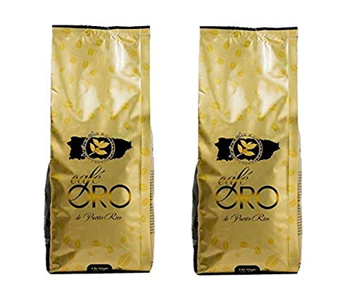 Cafe Oro de Puerto Rico Roasted Coffee Beans - Puerto Rican Coffee - 2 pounds bag - 2pack