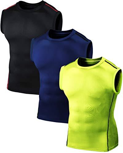 Defender Camiseta sin mangas para hombre de compresión Cool Dry, Paquete de 3 06, Medium