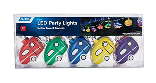 Camco Hanging Festive Party Glow Lights- Perfect for RV Awnings and Campsite Décor, Great for Indoor and Outdoor Use (Retro Travel Trailer Design) (42655)