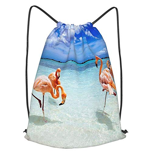 Flamingo On The Beach backpack,drawstring backpack, a lightweight backpack suitable for outdoor basketball and indoor gymnasiums
