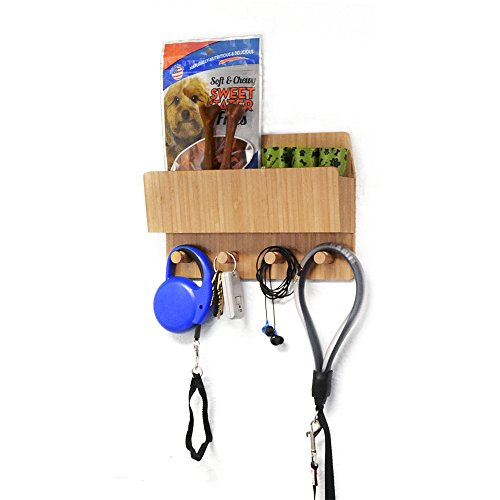 MobileVision Bamboo Pet Supply Organizer All-in-One Wall Mounted Dog Leash Holder/Rack Extra Space Compartment for Storage of pet Essentials Treats/Keys/Toys