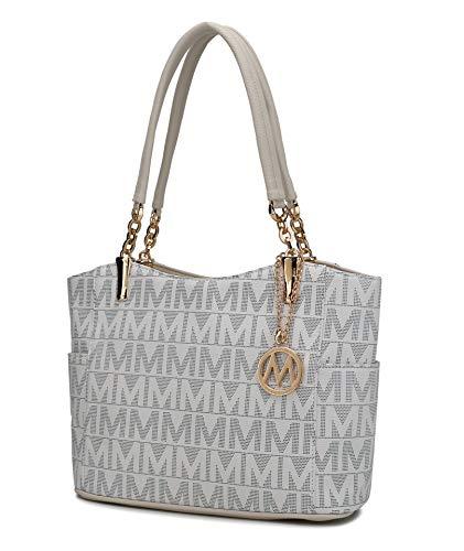 Mia K Collection Shoulder Handbag for Women: Vegan Leather Satchel-Tote Bag, Top-Handle Purse, Ladies Pocketbook White