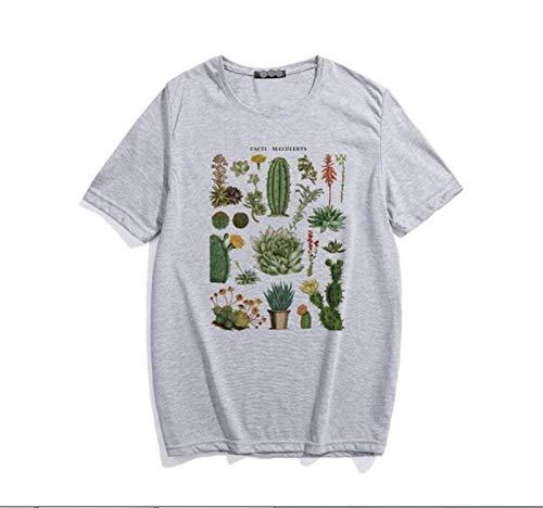 HLMJ Pflanze Kaktus Fleischige Buchstabedruckes Weiblicher T-Shirt Sommer Loser O-Ansatz Retro Damenbekleidung Casual (Color : 1 Gray, Size : S.)
