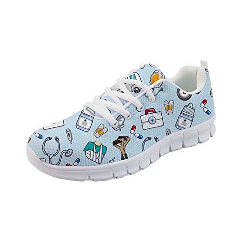 POLERO Sneaker Zapatillas de Deporte Nurse Bear Botiquín para Dama Mujer con Cordones 37 Talla Europea
