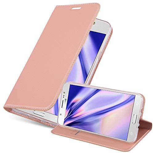 Cadorabo Funda Libro para Samsung Galaxy J7 2016 en Classy Oro Rosa – Cubierta Proteccíon con Cierre Magnético, Tarjetero y Función de Suporte – Etui Case Cover Carcasa