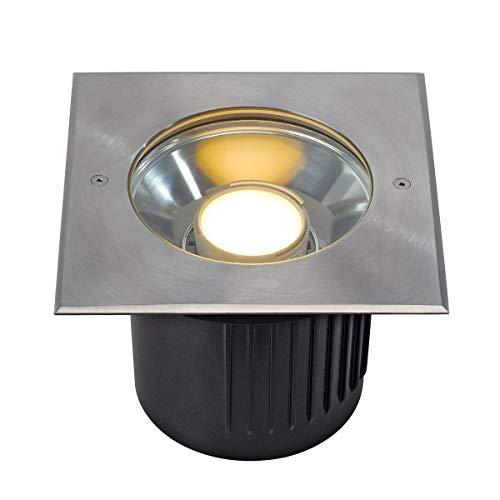 SLV Dasar LED Bodeneinbaustrahler, eckig, Edelstahl für Philips LED Twistable Module 230164