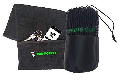 Mad Monkey Sport-Handtuch – Gym Towel mit extra Reißverschluss-Tasche und Netz-Beutel – Fitness-Handtuch aus 100% Baumwolle