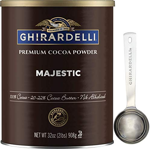 Ghirardelli Majestic Premium Cocoa Powder , 32 Ounce Can with Ghirardelli Stamped Barista Spoon