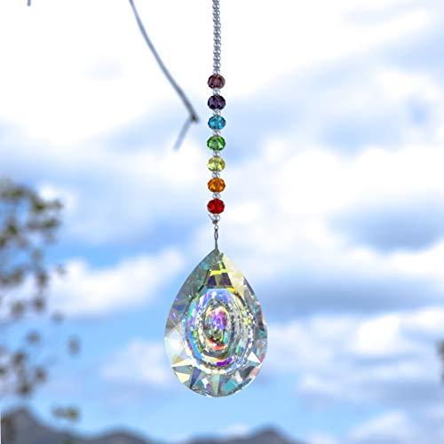 MerryNine - Lámpara Colgante de Cristal con Forma de Prisma, Colorida, para...