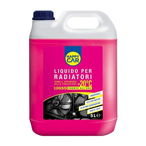 Happy Car - 5000ml Liquido Radiatori Rosso Anticongelante, Efficace da -20°C a +121°C, Antiebollizione, Lega di Alluminio, Pronto all Uso