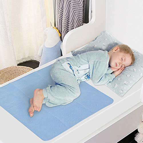 Bed Pads Washable Waterproof(2 Pack, 34 x 36), Washable and Reusable Incontinence Underpad Sheet Protector For Adults, Kids, Toddler and Pets, White and Blue