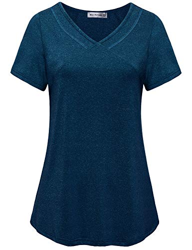 MISS FORTUNE Workout Tops for Women, Ladies Short Sleeve Yoga Shirts Slimming Petite Exercise Tunic Top Active Gym Wear Tee Shirts Quick Dry Tops Pilates Clothes Blue S