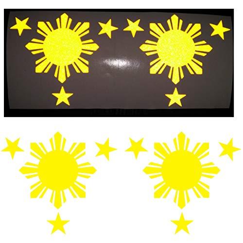 CUSHYSTORE Yellow Philippines Filipino Pilipinas Flag Reflective Vinyl Decal Sticker for Car Hardhat Bumper Laptop 3.75'x4.25', 2 Pack