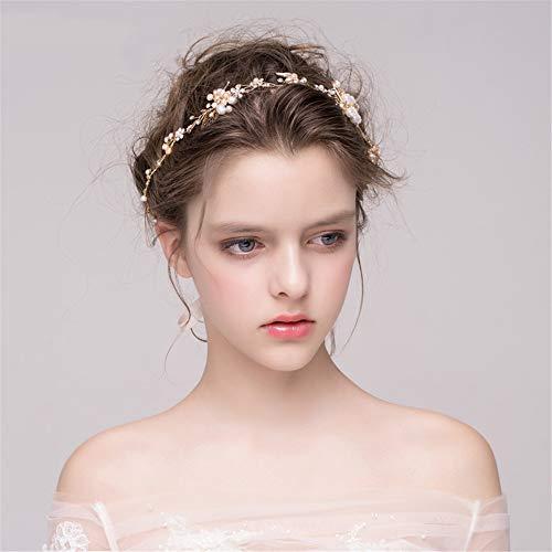 YHDD Hochzeit Frisur Perle Kristall Haarband Brautfrisur und Brautfrisur (Farbe : Gold)