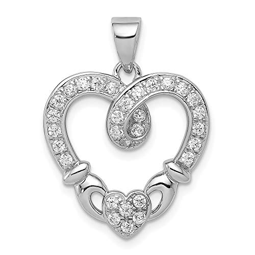 925 Sterling Silver Cubic Zirconia Cz Heart Irish Claddagh Celtic Knot Pendant Charm Necklace Love Fine Jewelry For Women Gifts For Her