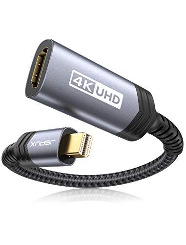 JSAUX Mini DisplayPort HDMI Adapter (4K@60Hz,2K@144Hz) Haltbar Mini DP zu HDMI Adapter Unterstützung Nylon geflochten kompatibel mit Apple MacBook/Pro, iMac, Microsoft Surface Pro/Dock-Grau