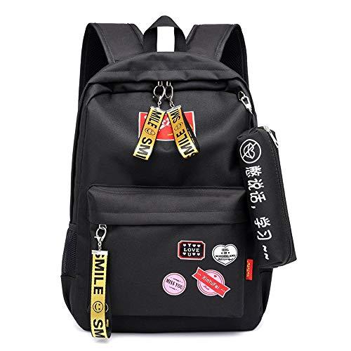 ZHBH Mochila de Viaje Informal para Mujer Nueva con Mochila de Carga USB, Bolso de Campus Lindo de Moda Juvenil (Color: Negro)
