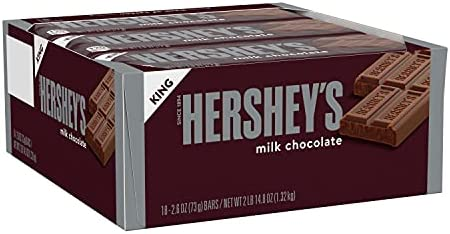 HERSHEY'S Chocolate Candy Bars, King Size (Pack of 18)