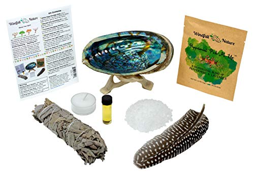 WindfallNature Home Cleansing -:- Blessing Starter Set + Abalone Smudging Bowl + Stand + California White Sage Smudge Stick + Smudging Feather + Blessed Anointing Oil + Tea Light Candle + Sacred Salt