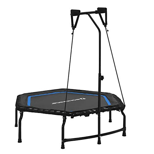 SONGMICS Mini Fitness Trampoline, 43.3' x 50.4' (110 x 128 cm) Exercise Rebounder, Foldable Cardio Trainer, Adjustable Handle, Resistance Bands, 264 lb (120 kg) Max Weight, Blue and Black, USTR44BU