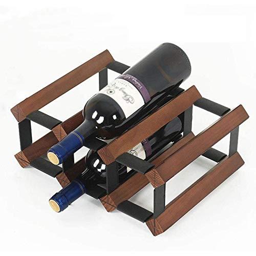 Wine racks Tarro de Almacenamiento Estantes para Vino, Porta Botellas de Vino de Madera Estante para Vino Independiente Simple Estante para Vino de Palo Pequeño Fácil de Montar para la Decoración