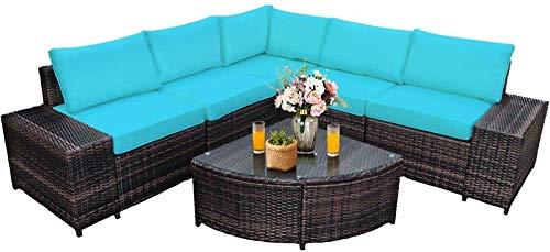 YRRA 6 stück Wicker Terrasse Möbel Set Outdoor Alle Wetter PE Rattan Gesprächssatz W/Geltung Glas Couchtisch Sektional Sofa Set (Türkis)